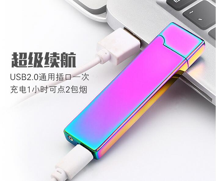 1pcs 2016 Usb charging ultra thin windproof lighters double arc pulse arc creative usb font b