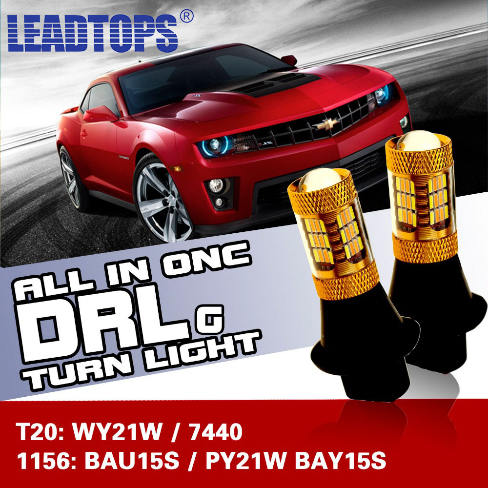 LEADTOPS Car Led Light daytime running light & Front Turn Signals light Car drl led Winker White + Yellow 20W  T20 7440 WY21W BH night lord for nissanteana wy21w 7440 t20 winker blinker led drl