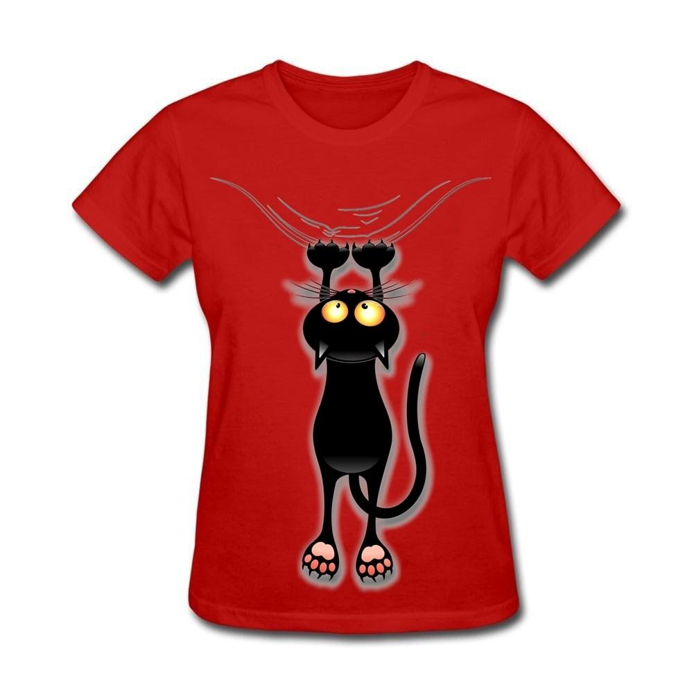 2017 Black Cute Cat Falling Down DIY Shirts for La s Sister Tops