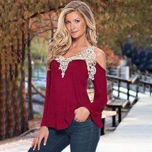 купить Women Spring T Shirt Splicing V-collar Shoulder T-shirt Loose Solid Long Sleeve V-Neck Pure Color Elegant Casual T-shirts по цене 683.23 рублей