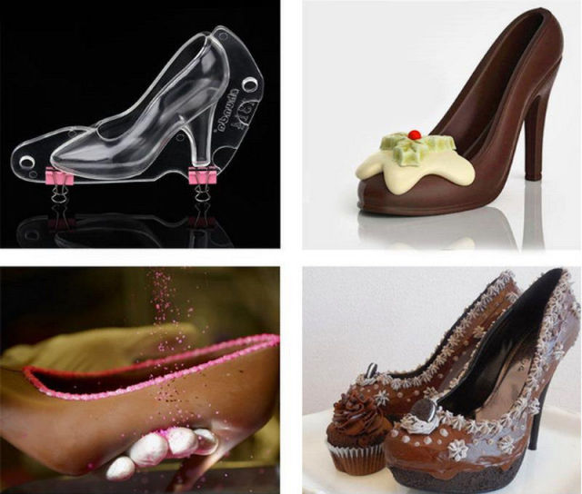 High Heel Shoe Polycarbonate Chocolate Confectionery Mold Candy Mould 3D Kitchen  DIY Baking Tool Accessories