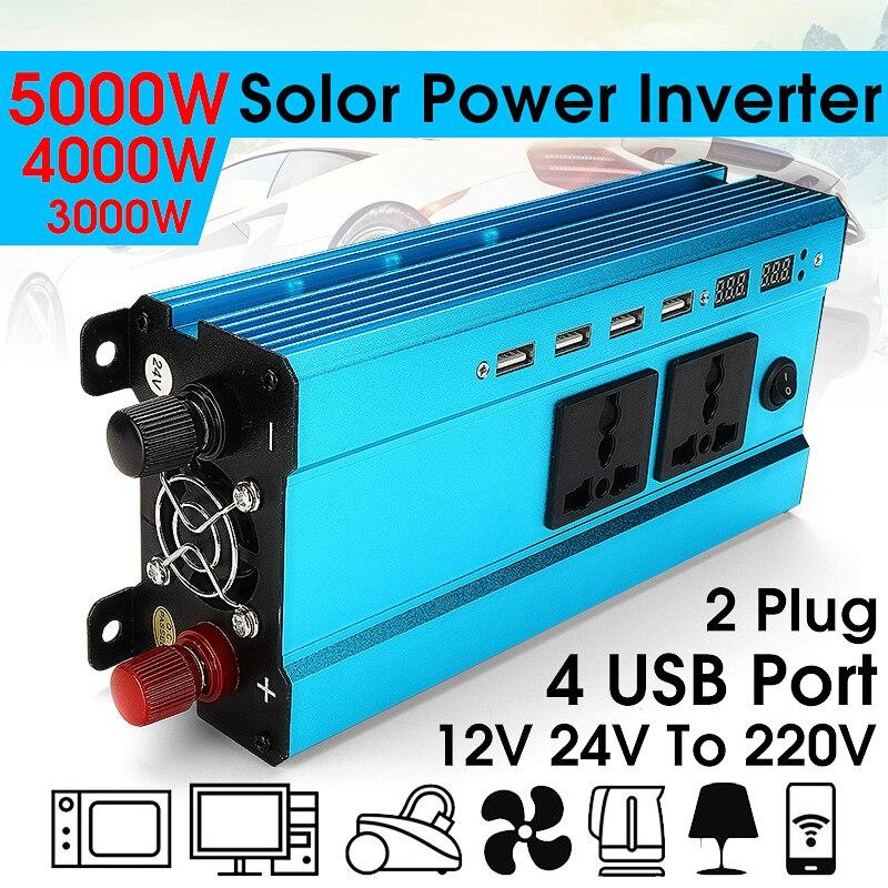 Voltage Transformer Sine Wave Converter Solar Power Inverter PEAK 3000W/4000W LED 4USB 12V/24V DC to 110v/220V AC 50Hz OverloadVoltage Transformer Sine Wave Converter Solar Power Inverter PEAK 3000W/4000W LED 4USB 12V/24V DC to 110v/220V AC 50Hz Overload