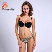 Andzhelika Brand Bikinis Women 2016 Bikini Beach Solid Sexy Leopard Bottom Push Up Bikinis Set Bathing