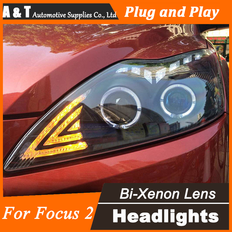 Car Styling for 2009 Ford Focus2 LED Headlight Focus Headlights DRL Lens Double Beam H7 HID Xenon bi xenon lens car styling led head lamp for ford focus2 headlights 2009 2012 focus led headlight turn signal drl h7 hid bi xenon lens low beam