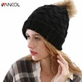 2015 Winter 4 Color Mens Crocheted Thick Black Brown Yellow Green Skullies Knitted Pattern Warm Wool Womens Black Beanie Pom Pom