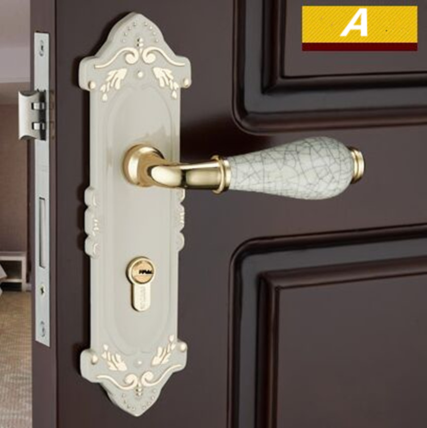 European fashion style ivory white ceramic mechanical mute ceramic panel handle lock, bedroom kitchen bathroom solid wooden lock the ivory white european super suction wall mounted gate unique smoke door