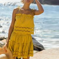 NLW Solid Lace Embroidery Elegant Beach Women Dress Suits Casual Spaghetti Strap Ruffle Dress Sexy Summer 2019 Dresses Vestidos