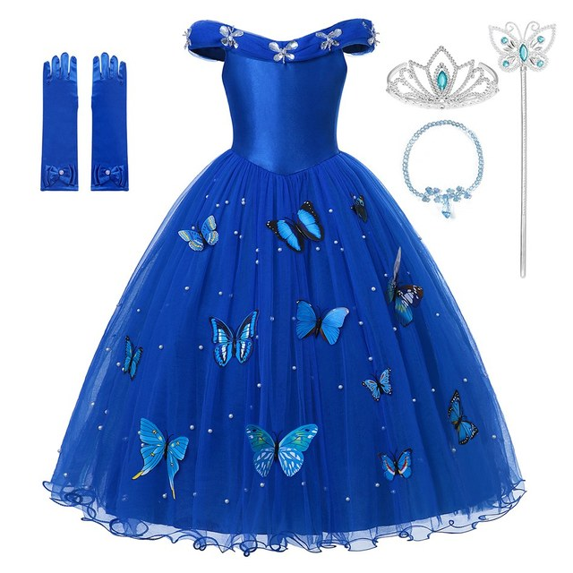 Princess Cinderella Dress up Clothes Girl Off Shoulder Pageant Ball Gown Kids Deluxe Fluffy Bead Halloween Party Costume