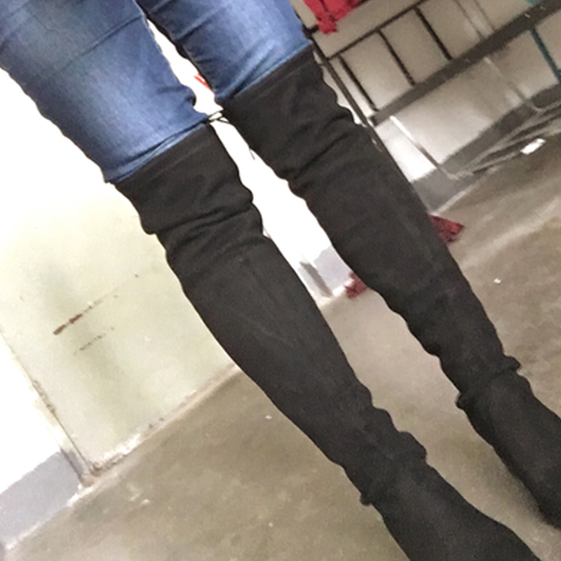 Fin Femmes Black genou Bout Nancyjayjii the Bottes Suede Confortable New Over Chevalier Sangle Rond Femme Plats Talons Thighland Croix OqqdHn