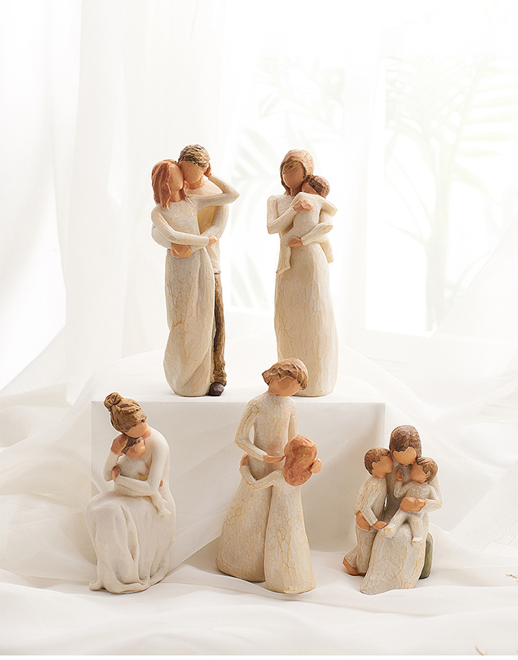 Nordic Style Love Family Figurines Resin Miniacture Mum Dad and Children Home Decoration Accessories Happy Time