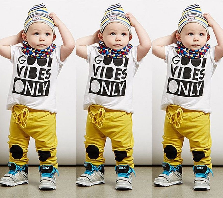 2016 New Casual Toddler Baby Kids Boy Clothing Sets Tee Shirt + Pants Outfits Set Tracksuit Clothes Summer Age 1 2 3 4 5 Years