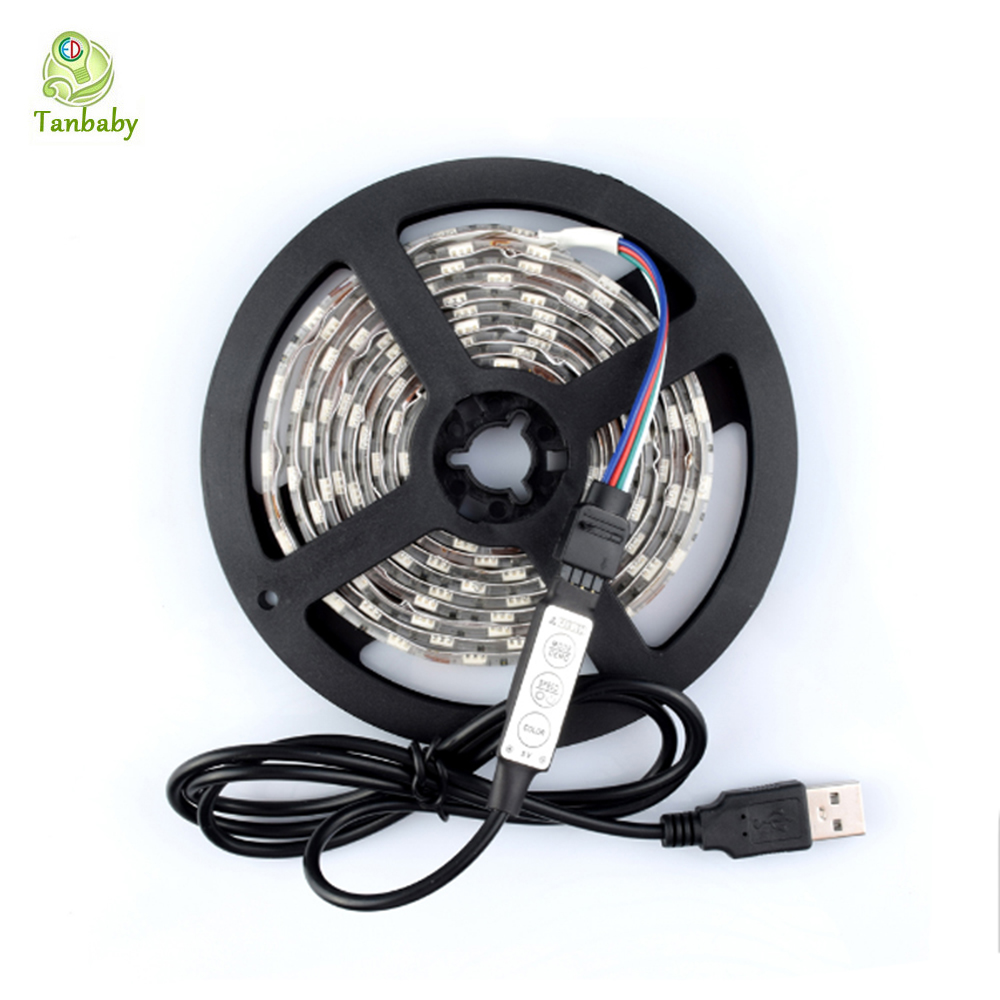 Tanbaby DC5V USB LED strip 5050 /2835 SMD Flexible tape Light 1M 2M 3M 4M 5V TV Background Lighting Waterproof decoration lights