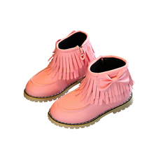 Kids Winter Boots Snow Boots for Baby Girls Children Double Tassels Butterfly Knot Boots Shoes Toddler Girls Warm Shoes C619