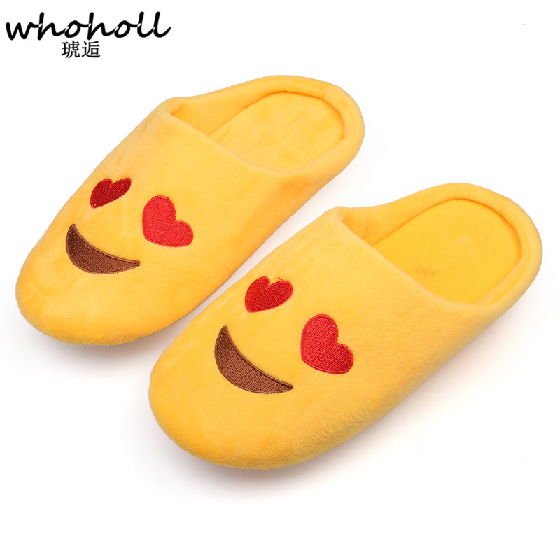 Whoholl  Women Soft Velvet Indoor Floor Expression Slippers Cute Emoji House Shoes Soft Bottom Winter Warm Shoes for Bedroom 2016 winter new soft bottom solid color baby shoes for little boys and girls plus velvet warm baby toddler shoes free shipping