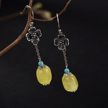 S925 Pure Silver Restoring Ancient Ways Do Old Mosaic Turquoise Ms High-grade Pendant Earrings Wholesale Beeswax Amber цена
