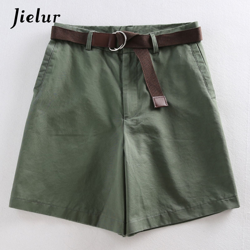 Jielur Shorts All match 4 Solid Color Sashes Casual Shorts Women A line High Waist Slim