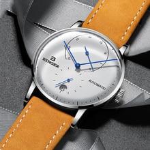 BINGER marka wodoodporne zegarki męskie automatyczny zegarek mechaniczny zegarek sportowy skórzany Casual Business zegarek Relojes 2019