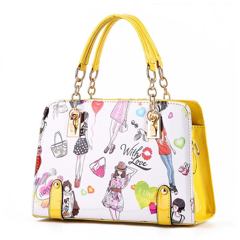 Elegant Fashion PU Women Handbag Shoulder Bag Crossbody Messenger Cartoon Pattern Chain Shoulder Strap Reglable fashion elegant m