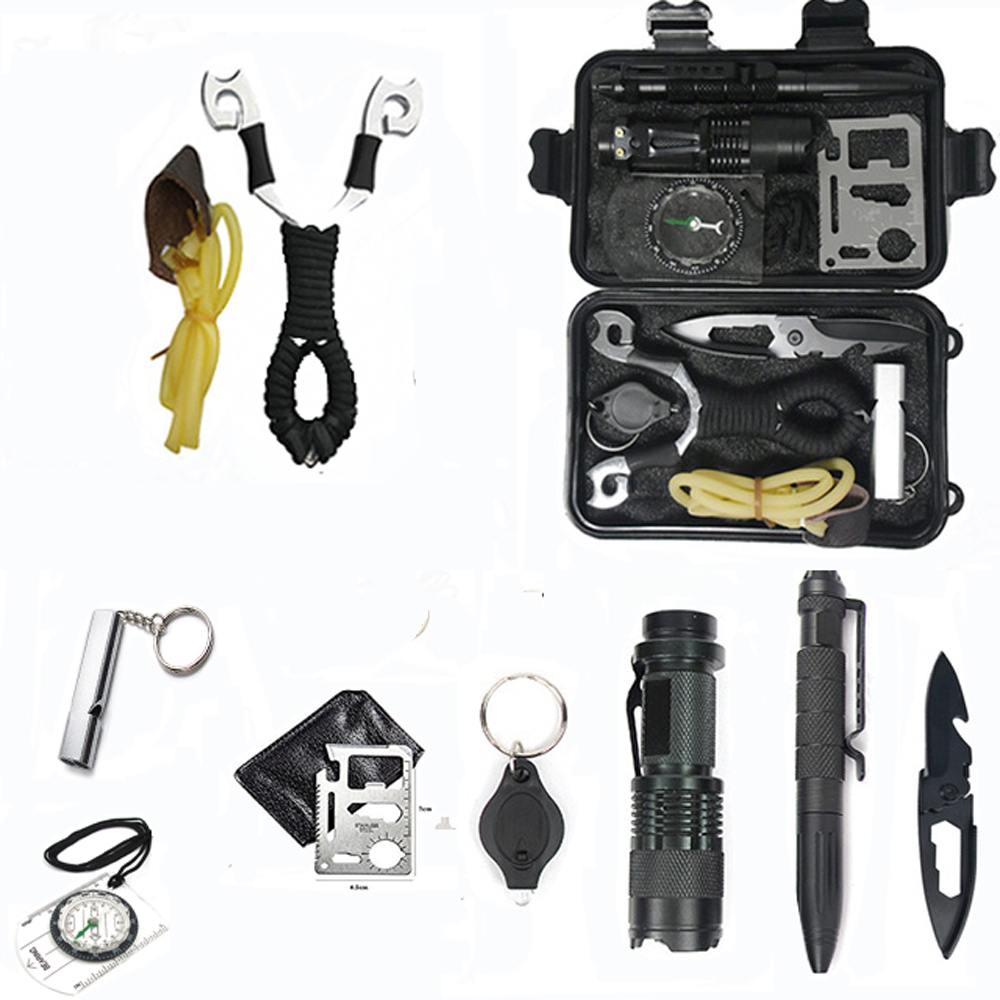 Camping 10 in 1 survival kit Set Outdoor tourism Multifunction First aid SOS EDC Emergency self defense for survival box