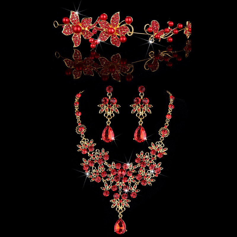 Bridal Jewelry Sets For Bride Elegant Crystal Flower Hair Decoration Earring Red Beads Stone Necklace Noble Wedding Jewelry Sets