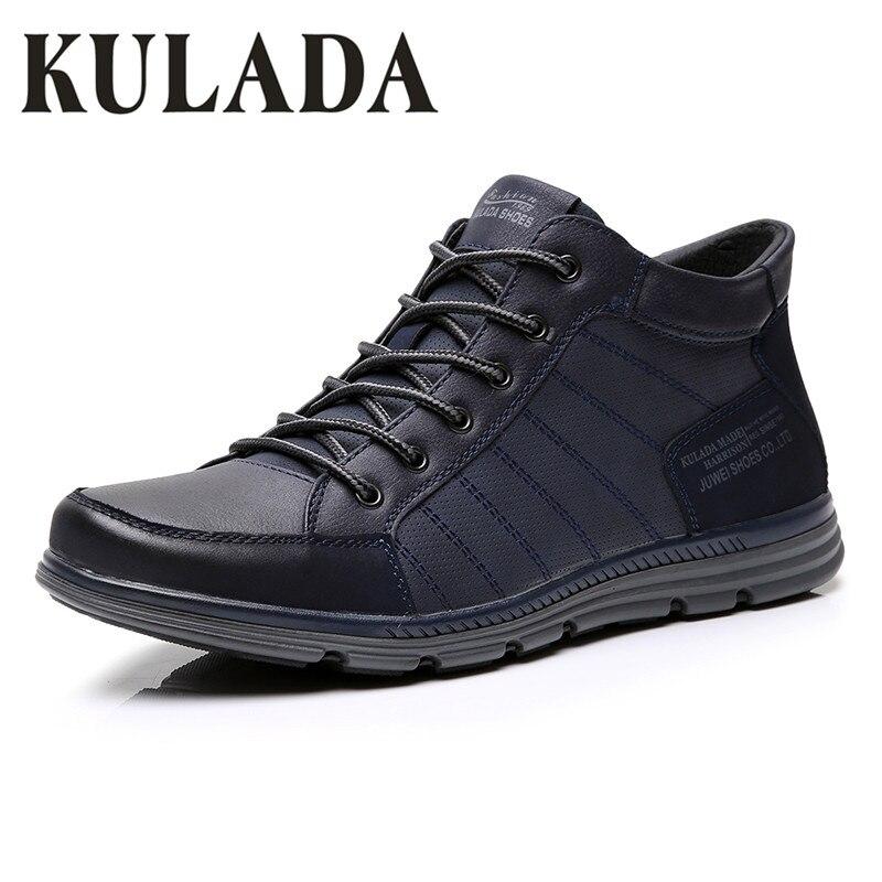 KULADA/Новинка; Мужская обувь; кожаные мужские ботинки; сезон весна-осень; удобные мужские повседневные ботильоны на шнуровке