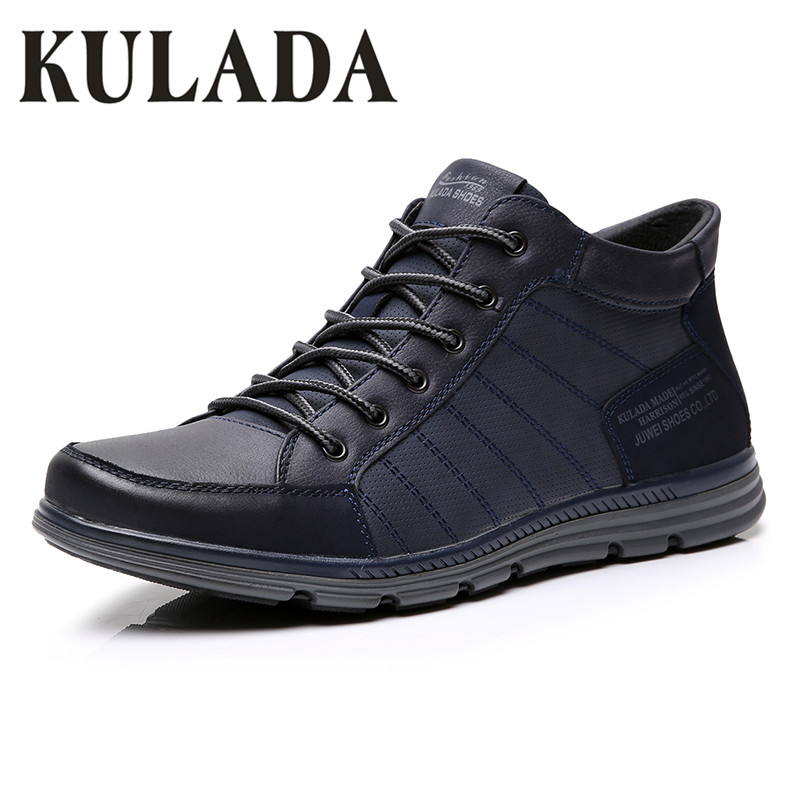 KULADA 2019 Men's Shoes Leather Spring&Autumn Men Boots Comfortable Nature Working Men Lace-up Casual Ankle Boots