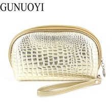 GUNUOYI New Fashion Cosmetic Bags Women Travel Makeup Bag PU Alligator Bag Large Capacity beautiful Mobile Phone Package LP-01