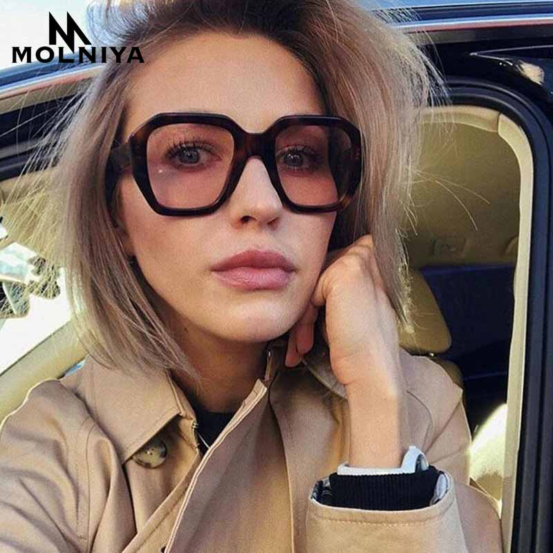 MOLNIYA 2019 Fashion Classic Men Square Sunglasses Retro Women Gradient Leopard Big Frame Sun Glasses Eyewear UV400