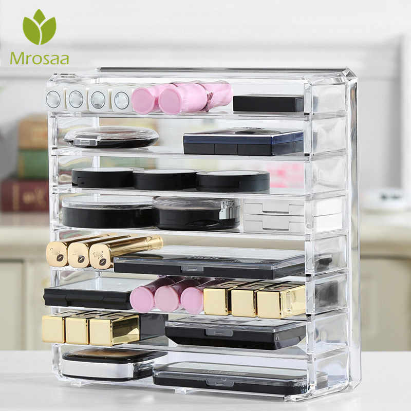 New Acrylic Makeup Organizer Clear Cream Storage Box Clarity Cosmetic Makeup Holder Vanity Cabinet Powder Display Shelf Plastic