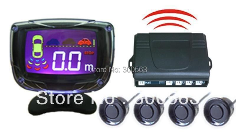Livraison gratuite capteur de stationnement sans fil, 4 capteurs LCD aide au stationnement, Radar de recul de stationnement