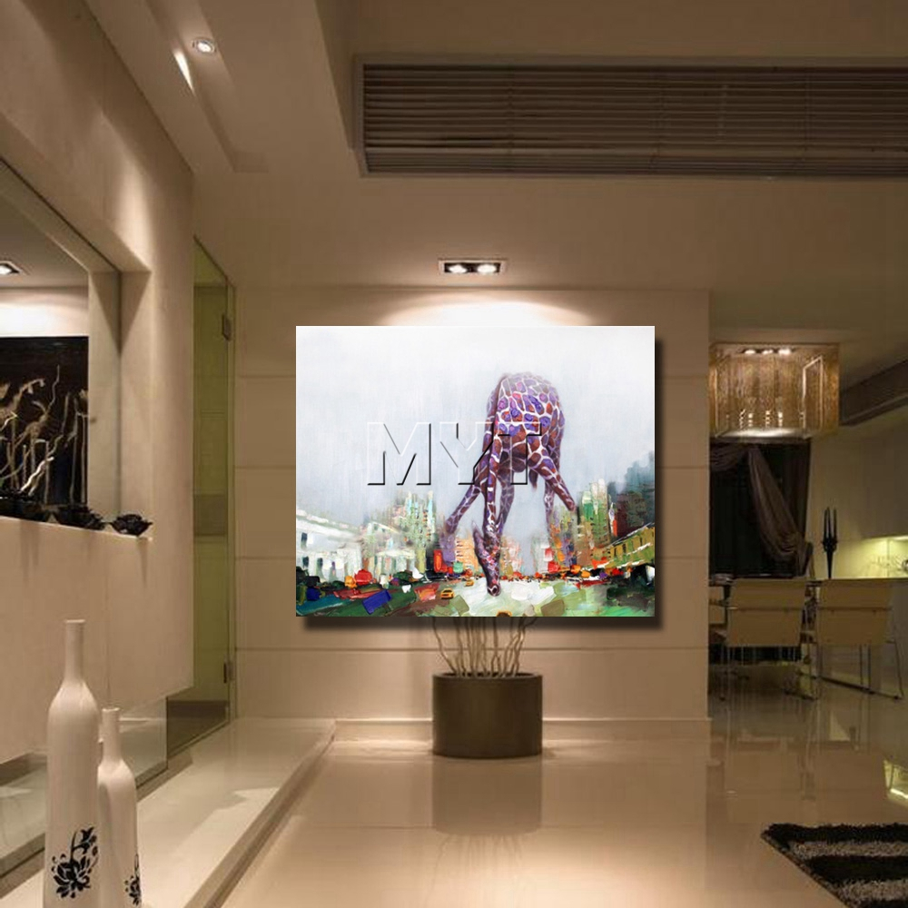 Giraffe abstract cartoon animal picture oil painting hand drawing abstract animal home goods oil painting free shipping  4