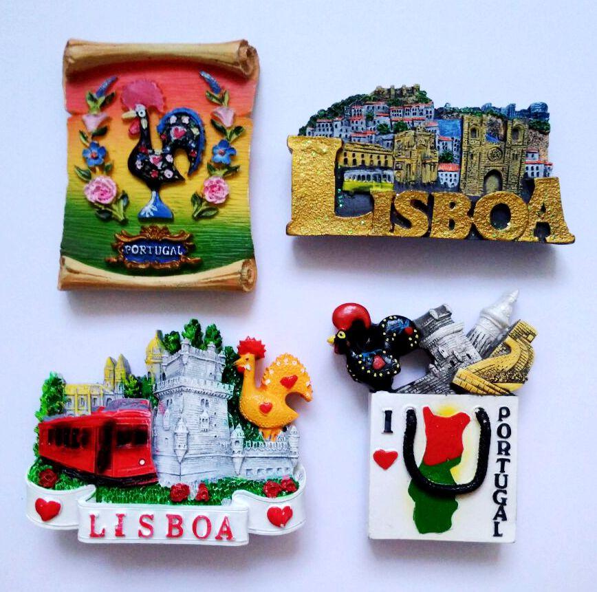 High Quality Handmade Painted Lisbon Portugal 3d Fridge Magnets Tourism Souvenirs Refrigerator