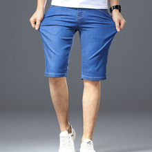 New Mens Washable Comfort Denim Pants Youth Thin Straight Cotton Fleece Casual Shorts