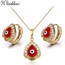 Yellow Gold Color Red Evil Eyes Paved CZ Teardrop Pendant Necklace Hoop Earrings Jewelry Sets for Womens Girls Kids Children(China)