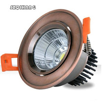 Free Shipping Hight light  7W 10W Dimmable Recessed COB led ceiling down downlamp AC85~265V With LED Driver