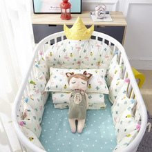 4pcs Cotton Crib Baby Bedding Nordic Style Children's Bumper Around Cot Removable And washable Baby Bed Protector Room Decor xisayababy nordic style baby bed bumper colorful baby pillow cushion baby bedding crib protector baby room decoration 200cm