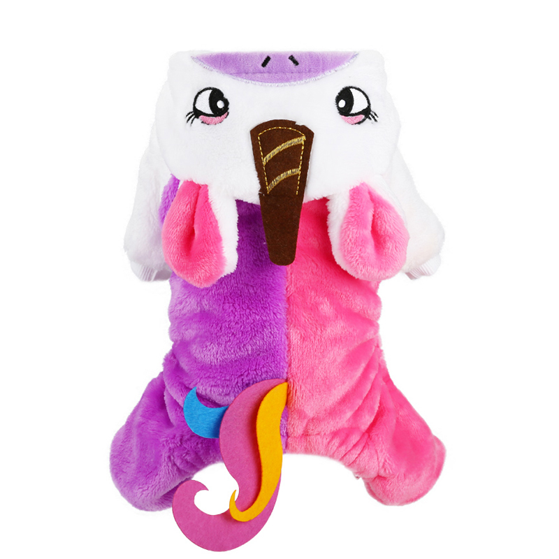 Unicorn Dog Costume Halloween for Small Pet Puppy Cat Apparel Winter Clothing Holiday Cosplay Jumpsuit Warm