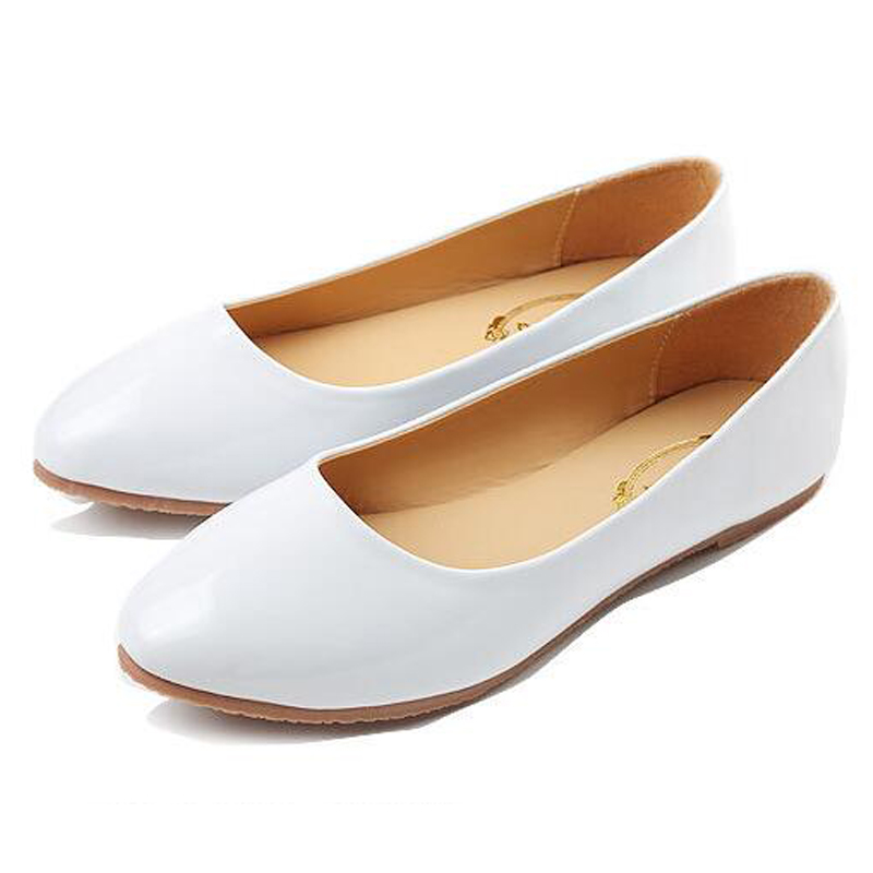 font b Women s b font Fashion Patent Leather Ballet Flats Summer Pointed Toe Flat