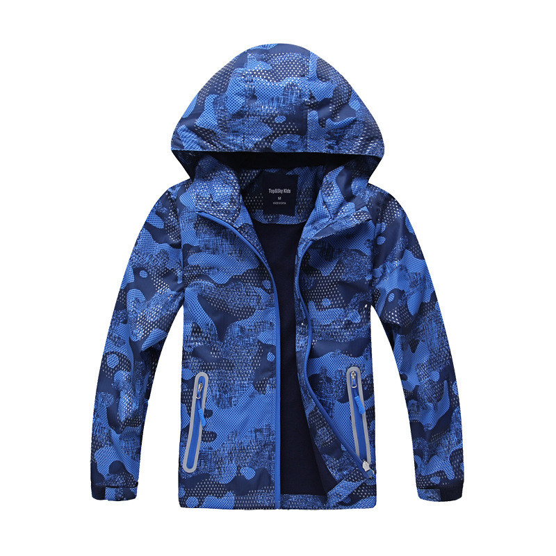 Kids Waterproof Breathable Windbreaker Winter Spring Jacket Camouflage Printing Cardigan Outerwear Fleece Lining Boys Clothes