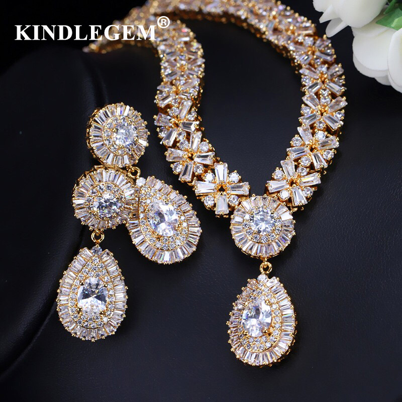 Kindlegem 2019 Luxury Zircon Parure Bijoux Femme Dubai Gold Earrings Necklace Sets Fashion Indian African Jewelry