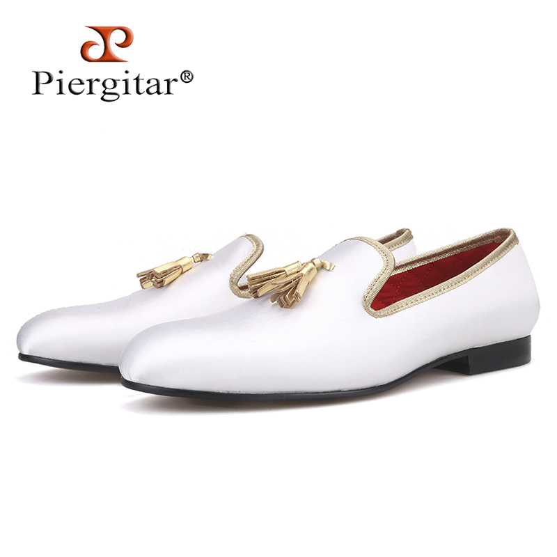 Piergitar 2019 New three colors men satin shoes with leather tassel handmade men s loafers wedding