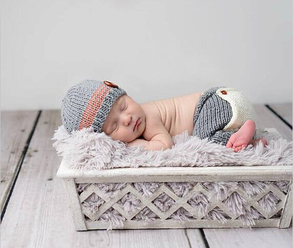 Newborn baby crochet outfits accessories blue hat and pants sets baby beanie clothes 0-1M OR 3-4M newborn photography props