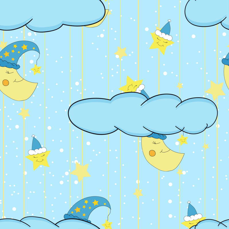 Cartoon Clouds Crescent Moon Star Blue Backgrounds Vinyl cloth High quality Computer print wall backdrop