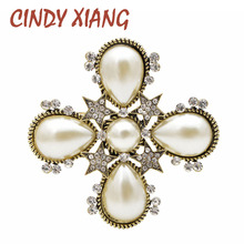 CINDY XIANG Pearl and Rhinestone Star Cross Brooches for Women Antique Baroque Style Brooch Pin Gold Color Wedding Jewelry