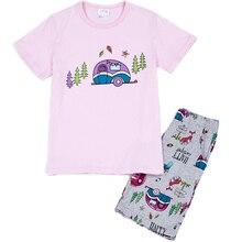 Kids Summer Pajamas Set Girl Pink Cartoon Car Clothing Baby Childrens Casual