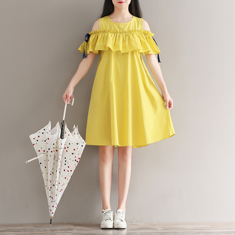 969ed6352a3 Mferlier Mori Girl Off Shoulder Dress Literature Yellow A Line O ...