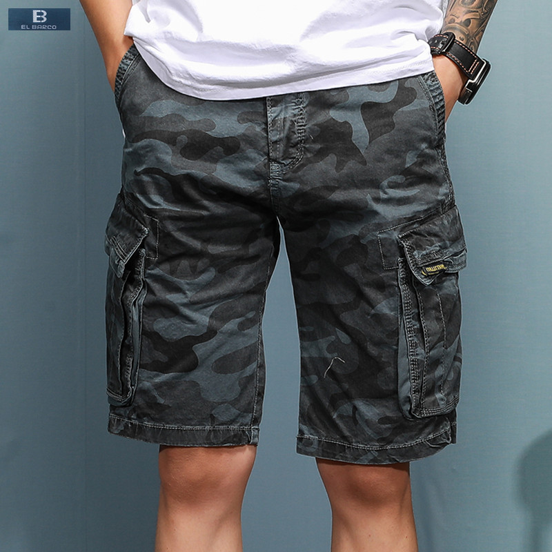 EL BARCO Summer Cotton Camouflage Casual Shorts Men Knee Length Pocket Military Army Green Khaki Blue Male Short Cargo Trousers