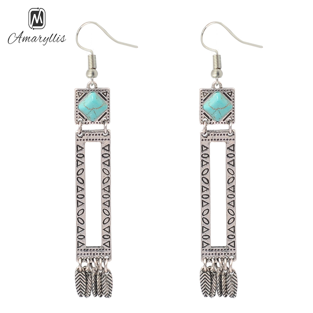 Amaiyllis Vintage Silver Color Tibetan Filigree Earrings For Women Ethnic Gypsy Pendant New Collection Dangle