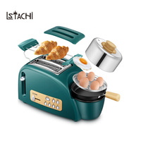 LSTACHi 2 Slices Toaster Bread Maker 5 Baking Stall Multifunction Breakfast Machine 2 Safety Protection/Thawing/Reheat Function