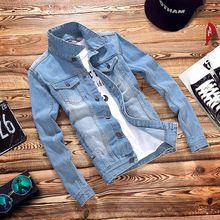 Осень Новые стрейч свет синие джинсы куртка Для мужчин мода Slim Fit джинсовое, в Корейском стиле пальто Для мужчин; винтажные джинсы, куртка 041301